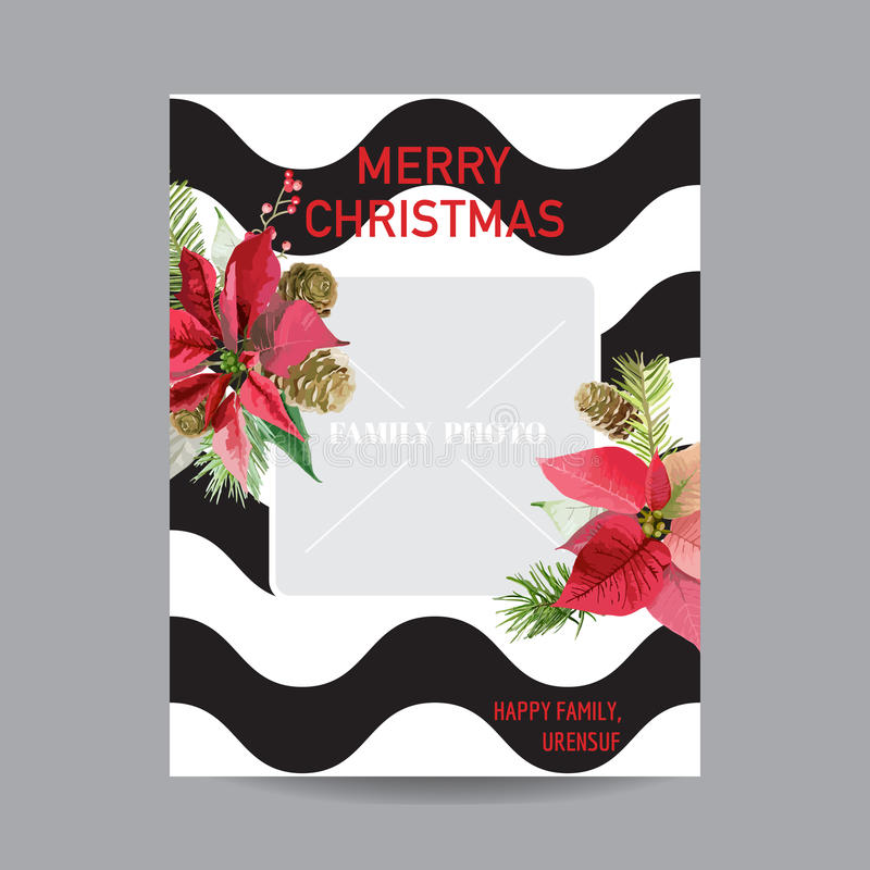 Vintage Poinsettia Christmas Invitation Card - with Photo Frame. Winter Background, Poster, Design - in Vector vector illustration