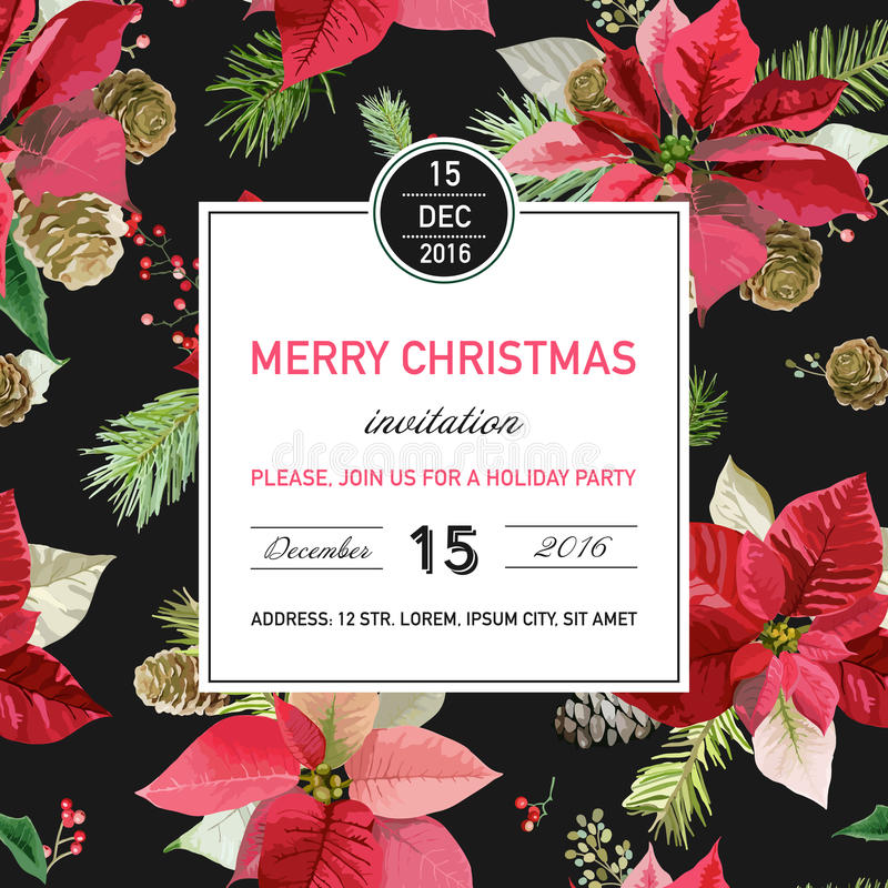 Vintage Poinsettia Christmas Invitation Card - Winter Background royalty free illustration