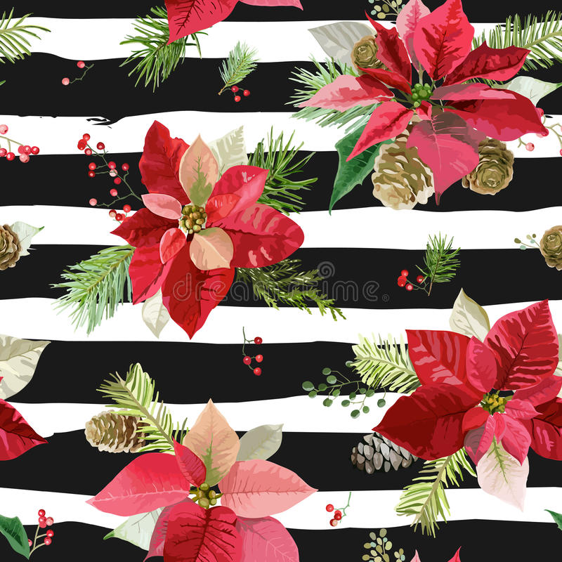Free Vintage Poinsettia Flowers Background - Seamless Christmas Pattern Royalty Free Stock Photo - 78886875