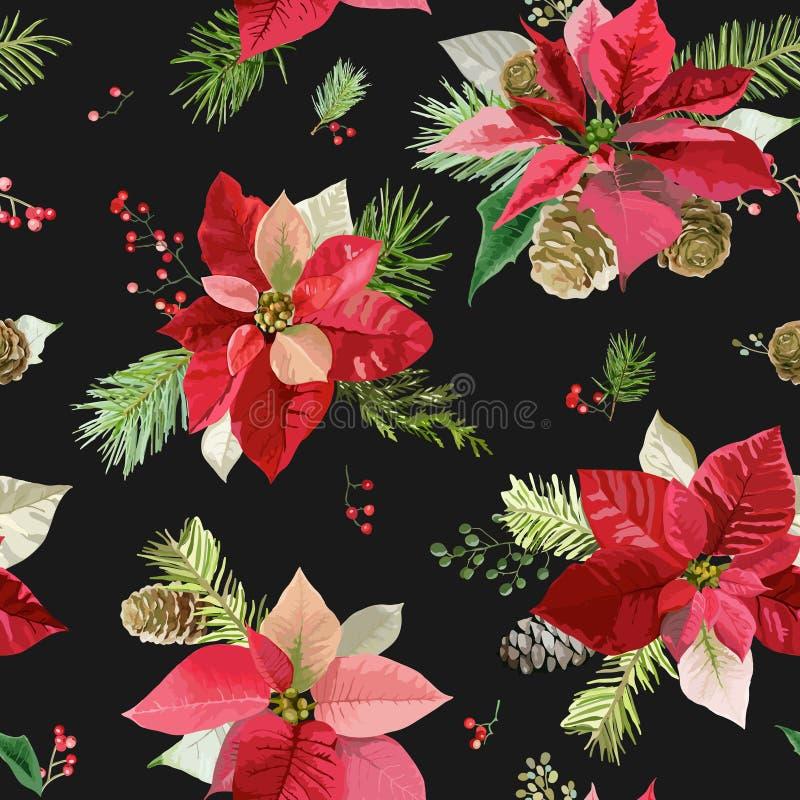 Vintage Poinsettia Flowers Background - Seamless Christmas Pattern royalty free illustration