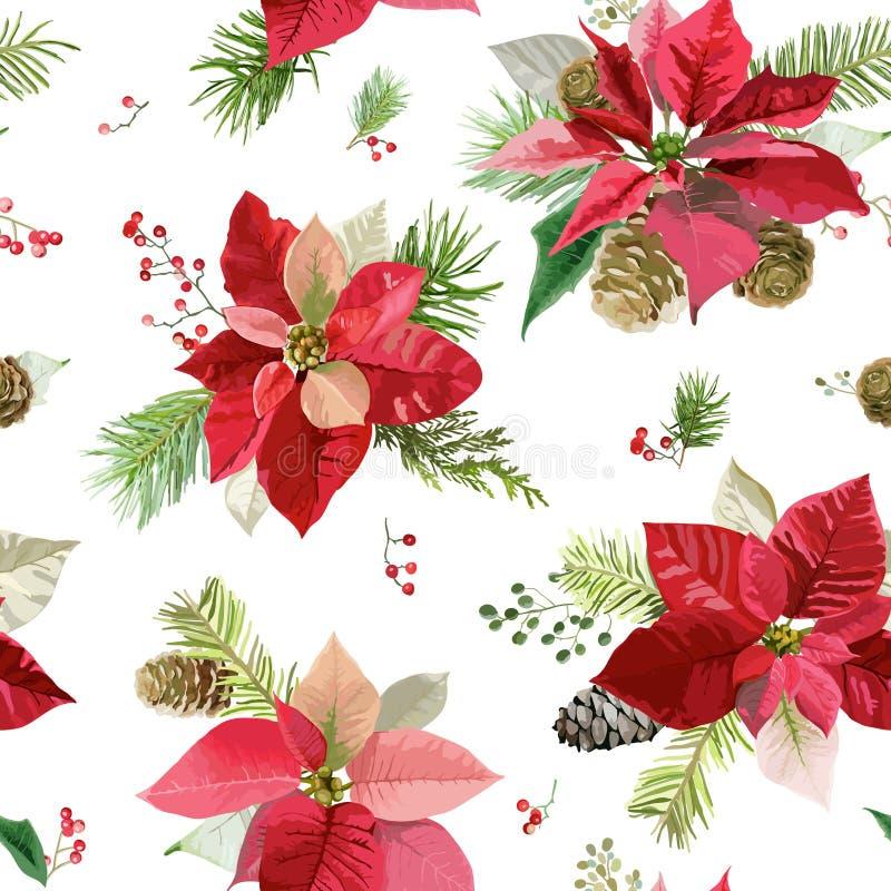 Vintage Poinsettia Flowers Background - Seamless Christmas Pattern stock illustration