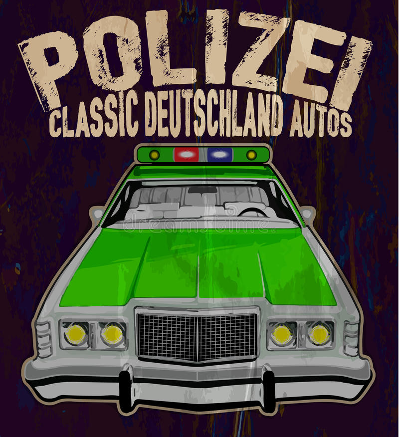 The vintage police car vector illustration