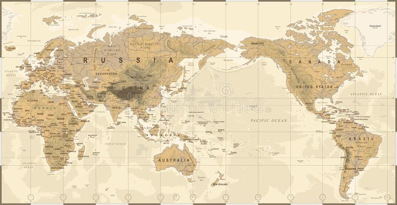 Vintage Political Physical Topographic World Map Pacific Centered stock illustration