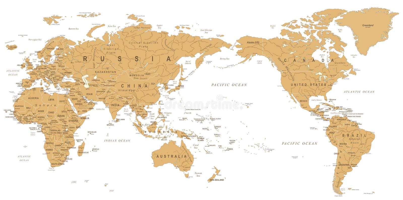 Vintage Political World Map Pacific Centered vector illustration