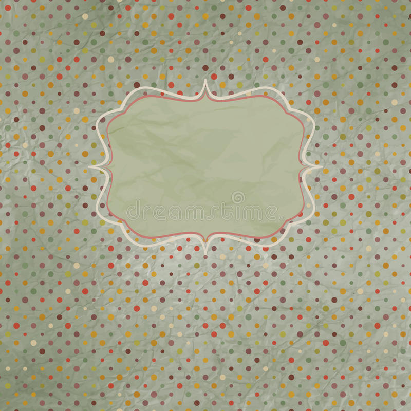 Vintage polka dot card. EPS 8 stock illustration