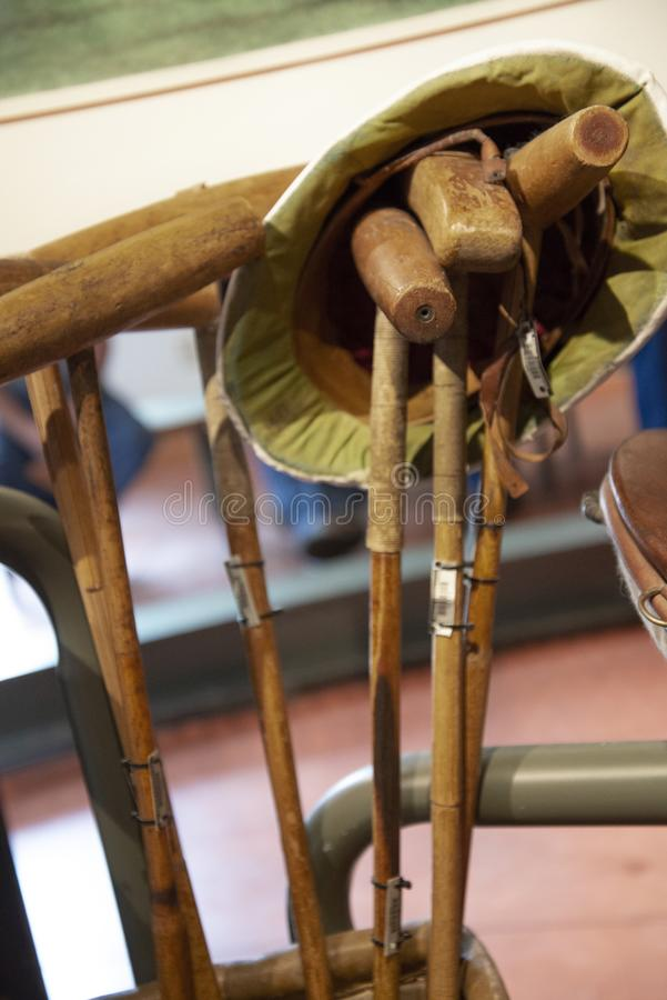 Vintage 1928 Polo Gear. Located at the Penrose Penrose Heritage Museum at the Broadmoor Hotel facility in Colorado Springs, CO.  These are Polo Mallets varying stock photo