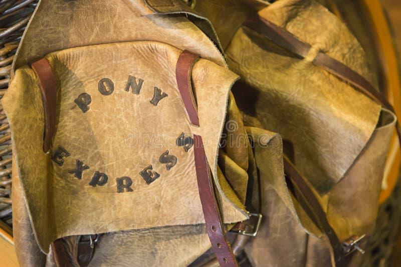 Vintage Pony Express Saddle Bags de couro imagem de stock royalty free