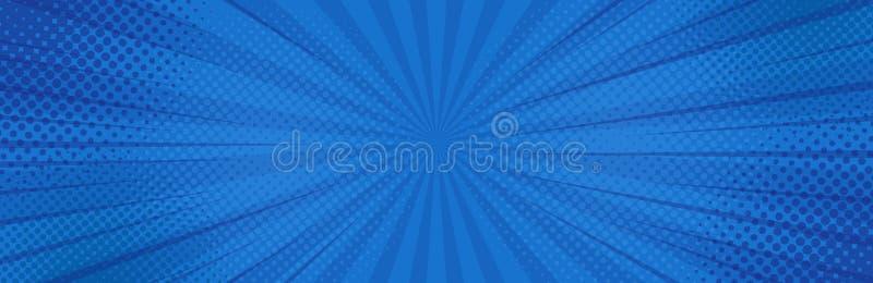 Vintage pop art blue background. Banner vector royalty free illustration