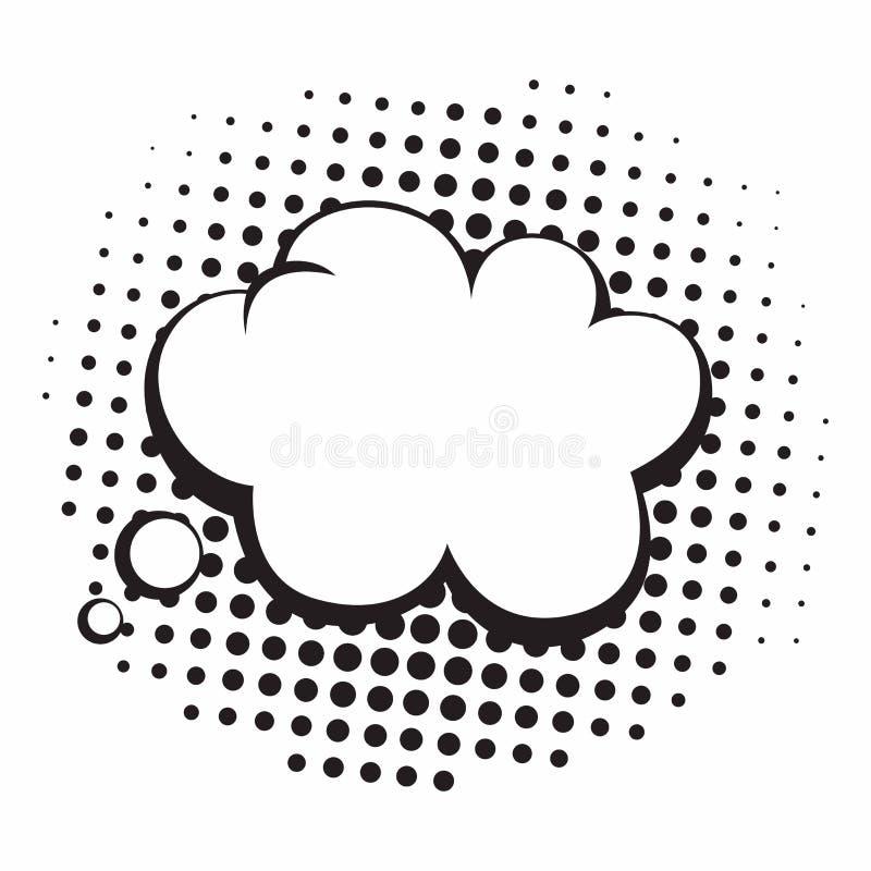 Vintage Pop Art Comics Speech Bubbles Vector Black and White Thinking Illustration stock illustration