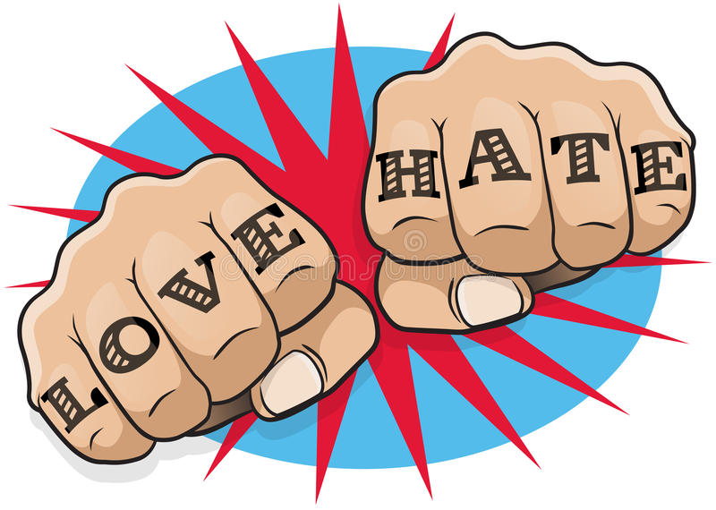 Vintage Pop Art Love and Hate Punching Fists. Great illustration of pop Art comic book style punching directly at you with the classic hooligan tattoo message royalty free illustration