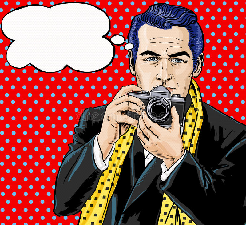 Vintage Pop Art Man with photo camera and with speech bubble. Party invitation. Man from comics. Playboy. Dandy. Gentleman club. Paparazzi man. Fashion vector illustration
