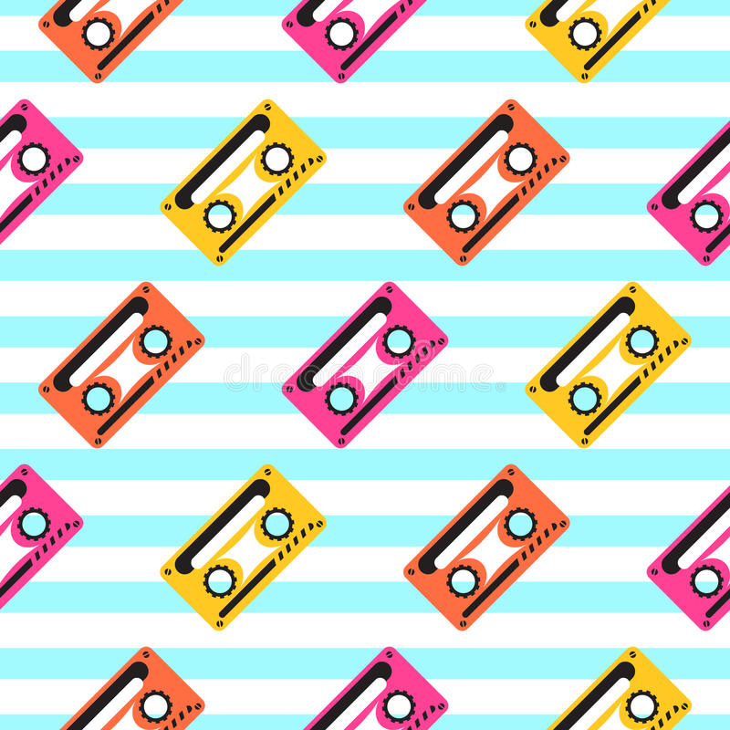 Vintage pop art music tape striped seamless pattern. vector illustration
