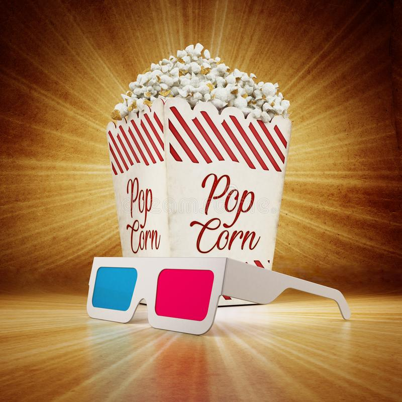 Vintage popcorn and 3D anaglyph glasses on grungy background. 3D illustration.  stock illustration