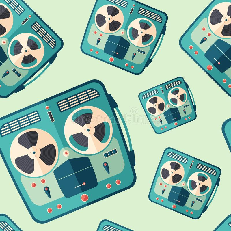 Vintage portable stereo tape recorder flat icon seamless pattern. vector illustration