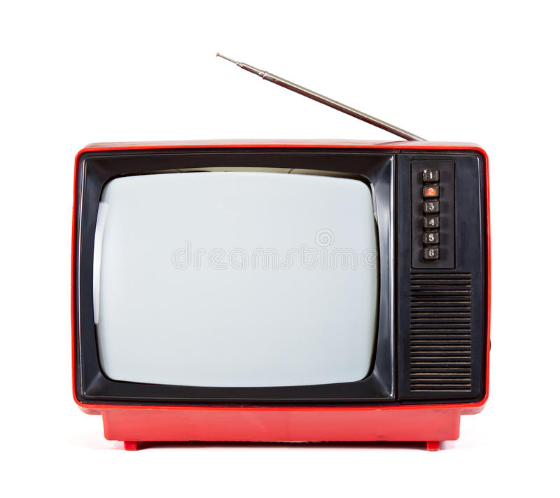 Vintage portable TV set. Vintage red Television set on white background stock photo