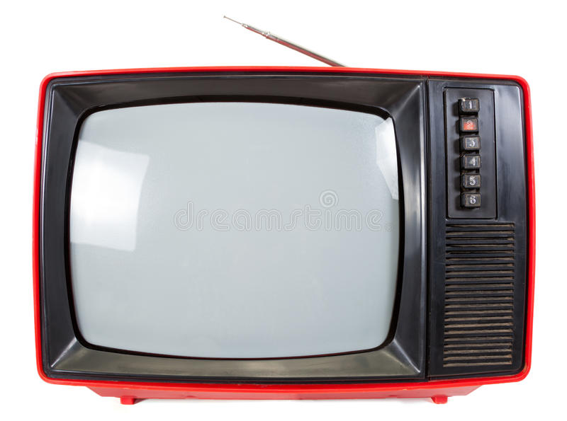 Vintage portable TV set isolared. Old red television set made in USSR isolated on white background stock photos