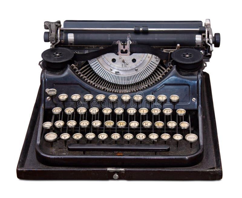 Vintage portable typewriter. Isolated on white royalty free stock image