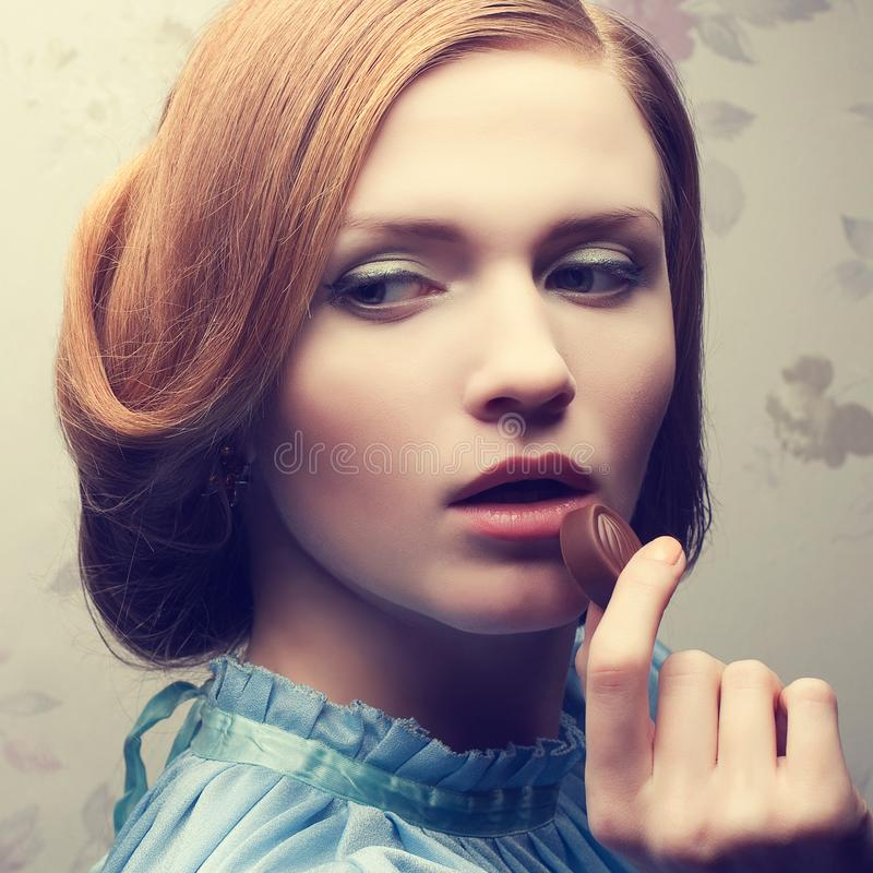 Vintage portrait of glamorous red-haired ginger girl royalty free stock photo