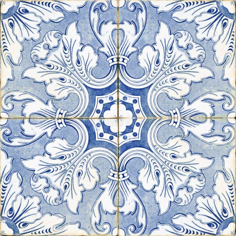 Vintage portuguese blue tiles stock photo