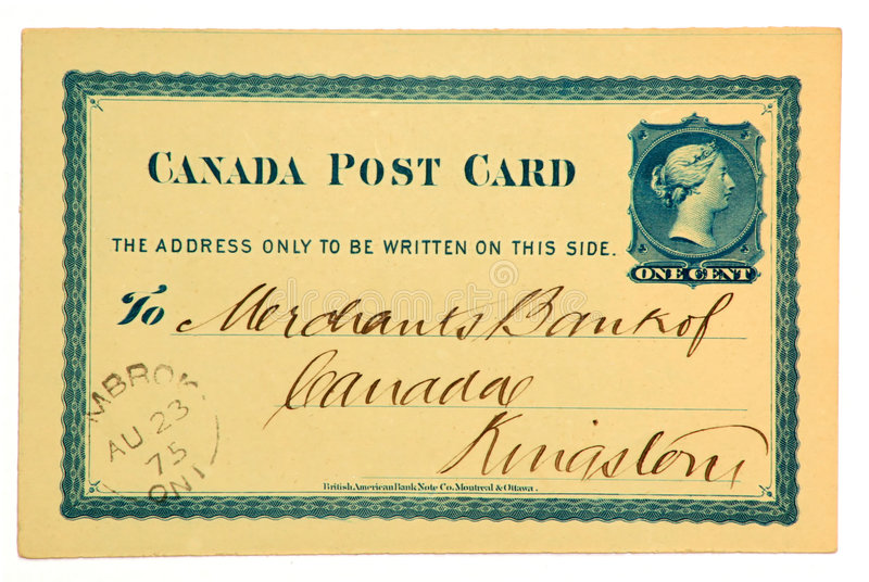 Vintage Post Card. This Canadian post office issued postcard is stamped 1875 stock photo