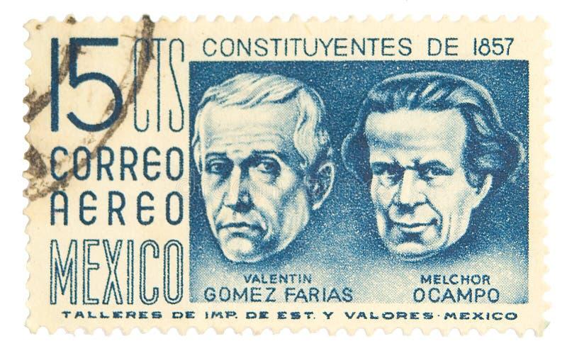 Vintage postage stamp. Mexico postage stamp on white background royalty free stock photo