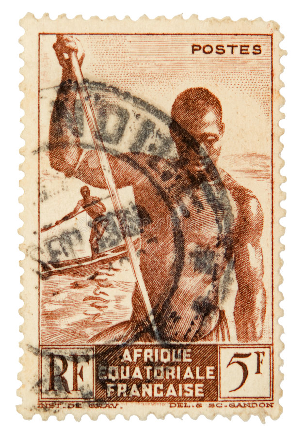 Vintage postage stamp. French equatorial africa postage stamp on white background stock photos