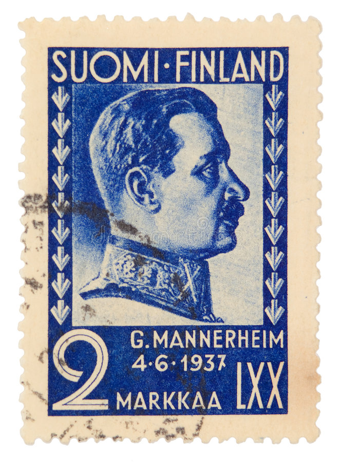 Vintage postage stamp. Finland postage stamp on white background royalty free stock photography