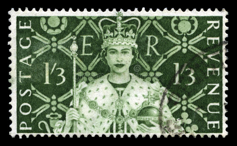 Vintage Postage Stamp Celebrating Queen`s Coronation royalty free stock photo