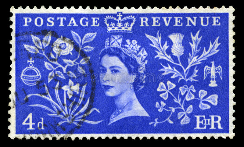 Vintage Postage Stamp Celebrating Queen`s Coronation. UNITED KINGDOM, CIRCA 1953: A vintage British postage stamp celebrating the Coronation of Queen Elizabeth royalty free stock images