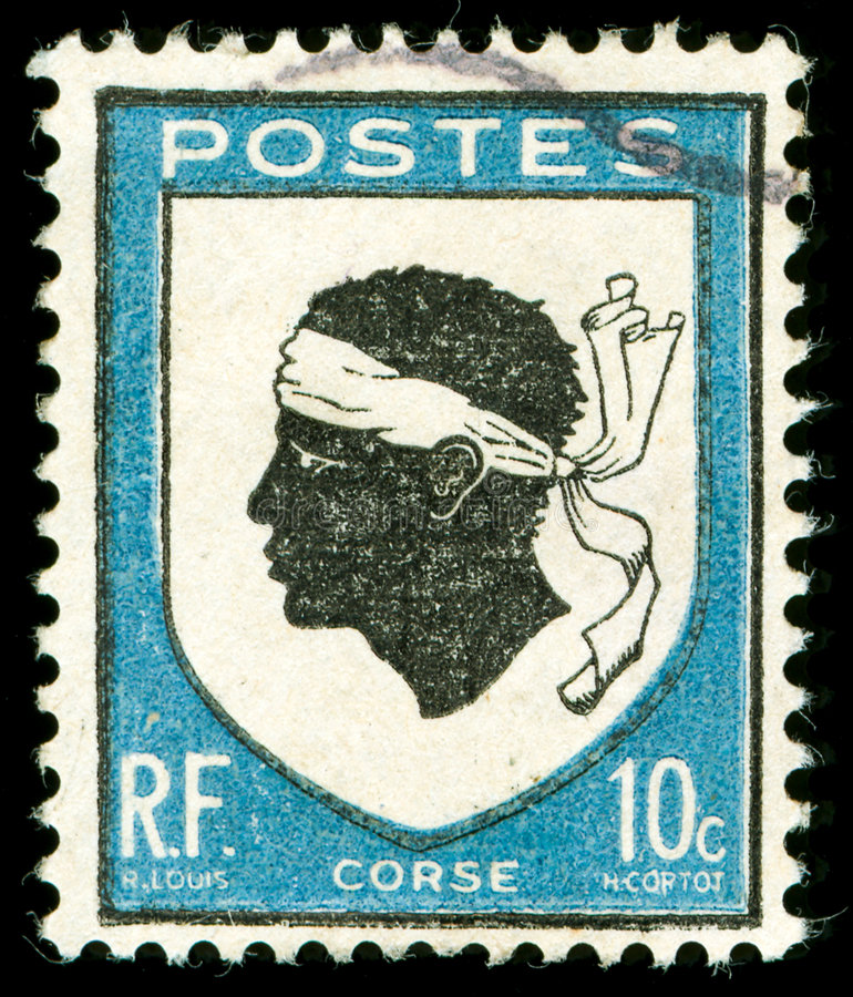 Download Vintage Postage Stamp From Corsica Stock Image - Image of black, collecting: 8017511