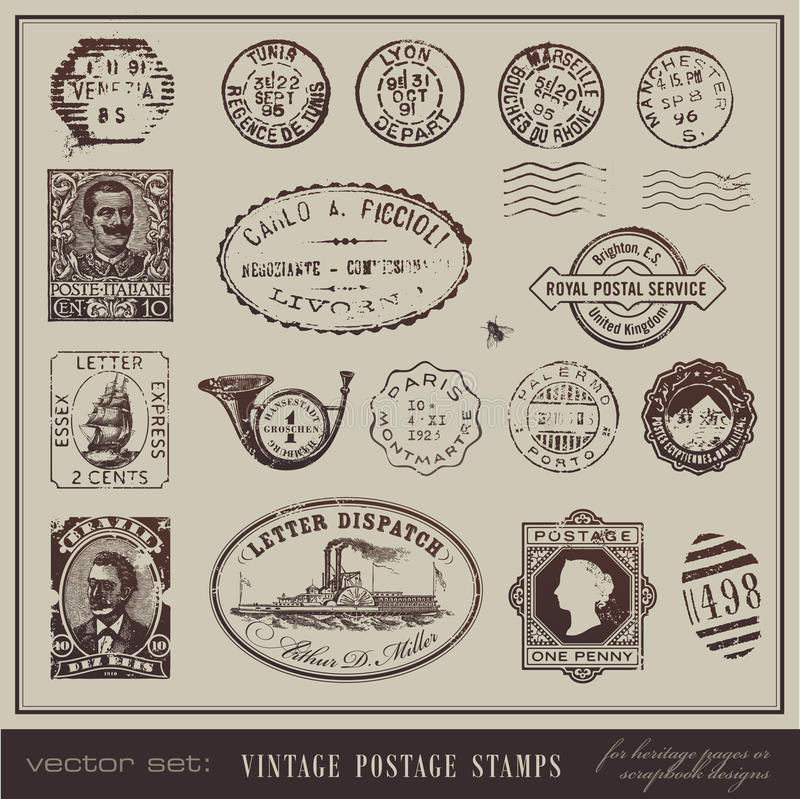 Vintage postage stamps. Vector set: vintage postage stamps - large collection of grunge antique stamps from different countries