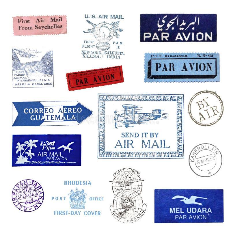 Vintage postage stamps stock illustration