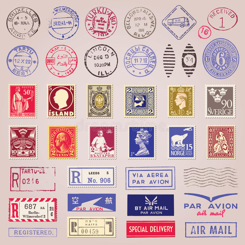 Vintage Postage Stamps, Marks And Stickers vector illustration