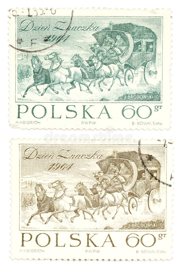 Vintage postage stamps from Poland. Collectible stamps from Poland. Set with horse-drawn carriages royalty free stock photos