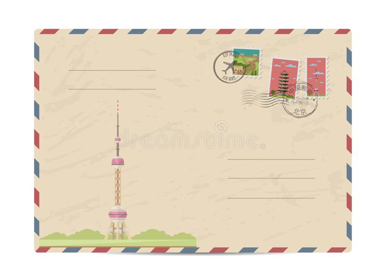 Vintage postal envelope with China stamps. China vintage postal envelope with postage stamps and postmarks on white background, isolated illustration. Chinese vector illustration