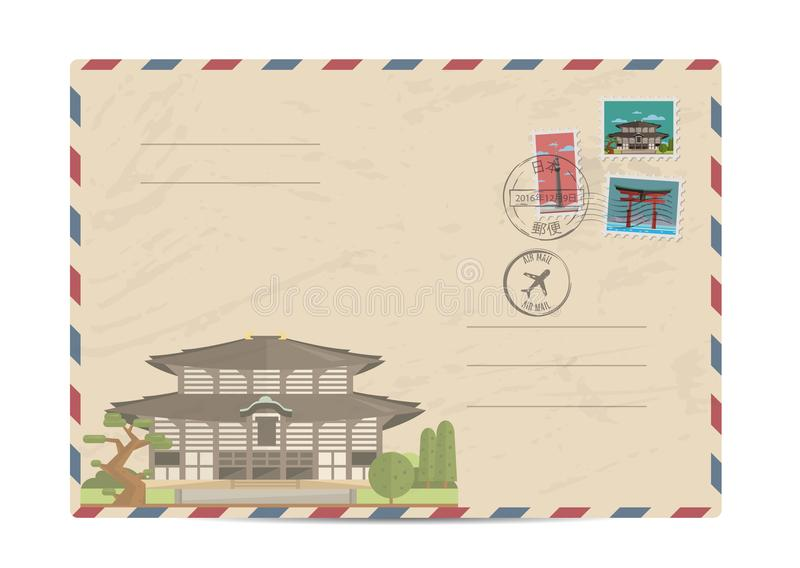 Vintage postal envelope with Japan stamps. Japan vintage postal envelope with postage stamps and postmarks on white background, isolated illustration. Japanese vector illustration