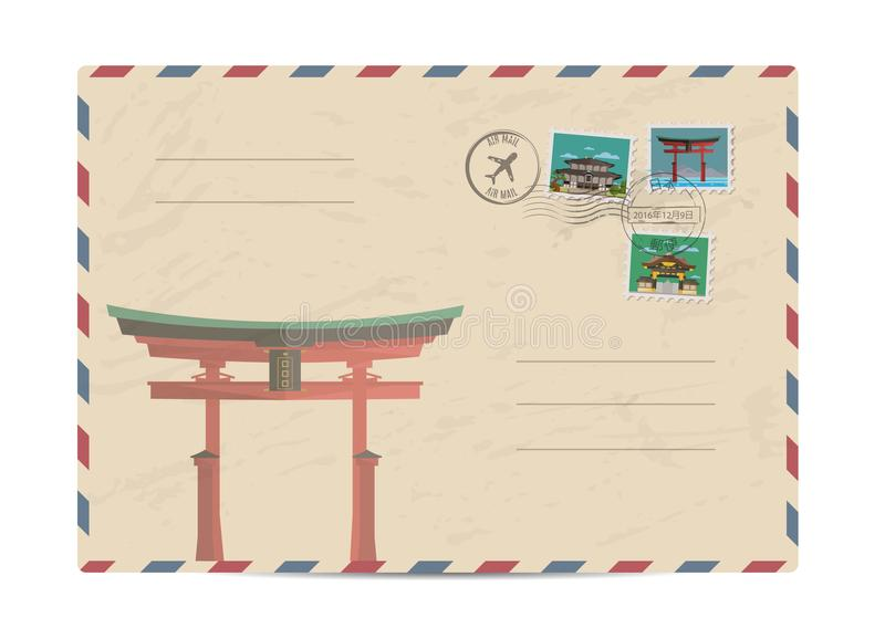 Vintage postal envelope with Japan stamps. Japan vintage postal envelope with postage stamps and postmarks on white background, isolated vector illustration stock illustration