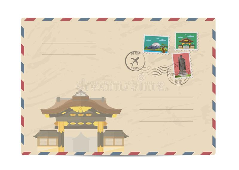 Vintage postal envelope with Japan stamps. Japan vintage postal envelope with postage stamps and postmarks on white background, isolated illustration. Japanese royalty free illustration