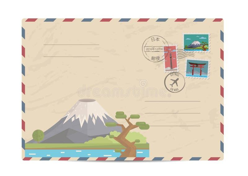 Vintage postal envelope with Japan stamps. Japan vintage postal envelope with postage stamps and postmarks on white background, vector illustration. Mount Fuji royalty free illustration