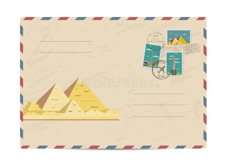 Vintage postal envelope with stamps. Ancient egyptian pyramids in desert. Postal envelope with famous architectural composition, postage stamps and postmarks on royalty free illustration