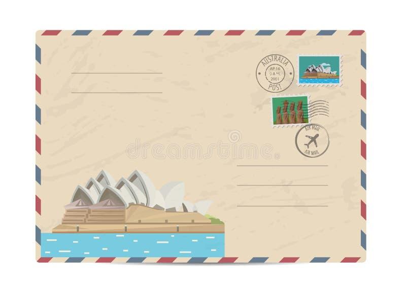 Vintage postal envelope with stamps. Australian vintage postal envelope with modern architectural composition, postage stamps and postmarks on white background vector illustration
