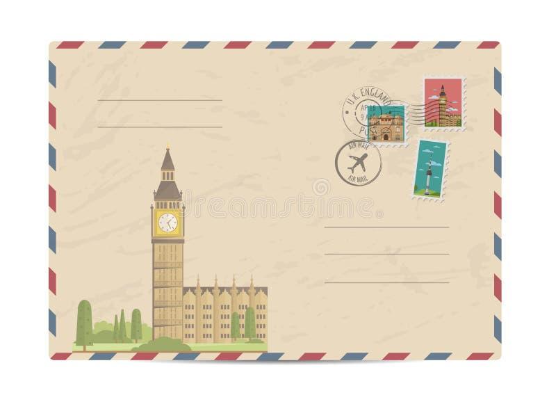 Vintage postal envelope with stamps. Big Ben and Westminster in London, UK. Vintage postal envelope with famous architectural composition, postage stamps and vector illustration