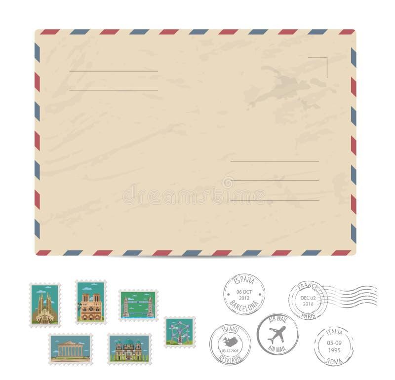 Vintage postal envelope with stamps. Blank postal envelope with postage stamps and postmarks on white background vector illustration. Stamps set with world vector illustration