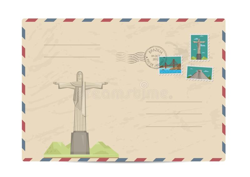 Vintage postal envelope with stamps. Brazilian vintage postal envelope with famous architectural composition, postage stamps and postmarks on white background royalty free illustration