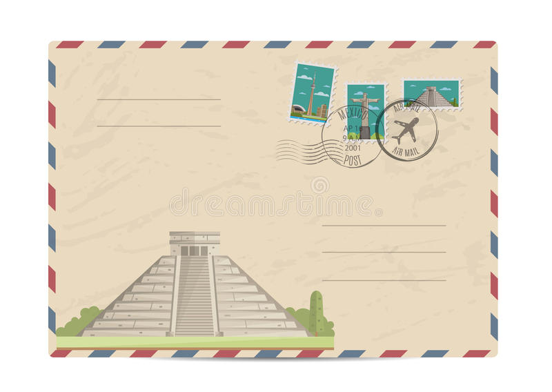 Vintage postal envelope with stamps. Chichen Itza Tulum Kukulcan crypt tomb pyramid, Mexico. Postal envelope with famous architectural composition, postage vector illustration