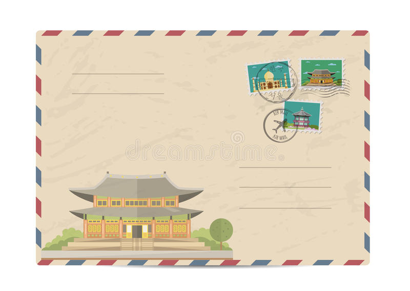 Vintage postal envelope with stamps. Chinese ancient temple. Pagoda tower. Postal envelope with famous architectural composition, postage stamps and postmarks stock illustration