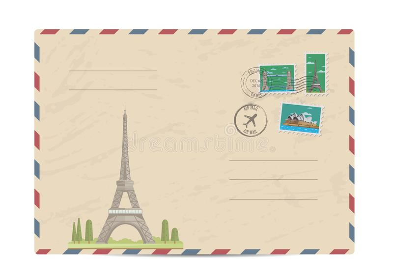 Vintage postal envelope with stamps. Eiffel Tower in Paris, France. Vintage postal envelope with famous architectural composition, postage stamps and postmarks vector illustration