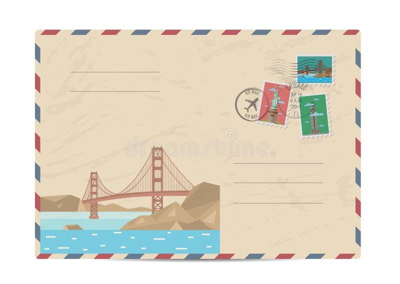 Vintage postal envelope with stamps stock illustration