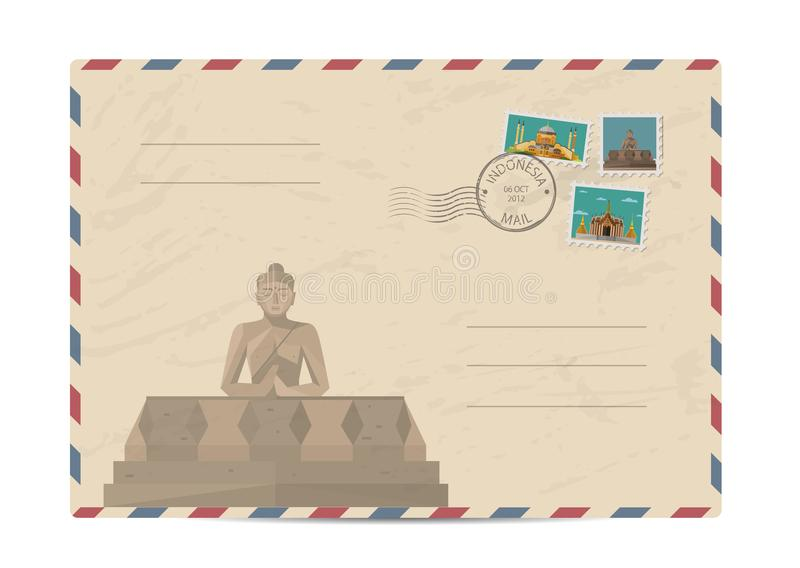 Vintage postal envelope with stamps. Indonesian Borobudur ancient temple . Postal envelope with architectural composition, postage stamps and postmarks on white vector illustration