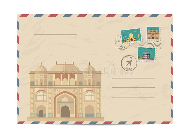 Vintage postal envelope with stamps. Itmad-ud-Daula, Baby Taj, Agra India. Postal envelope with famous architectural composition, postage stamps and postmarks on vector illustration